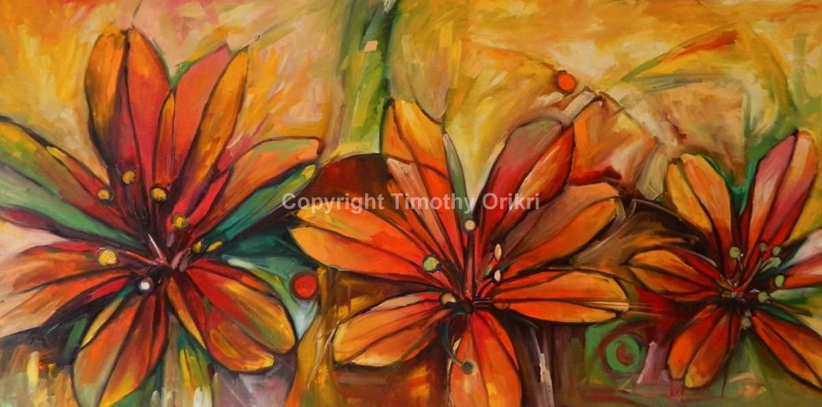 Stargazer Lilies – Oil on canvas