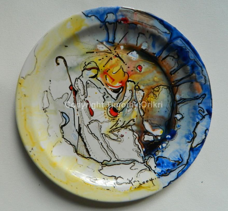 Nativity II - Hand-painted Ceramic Plate : painting on ceramic plates - Pezcame.Com