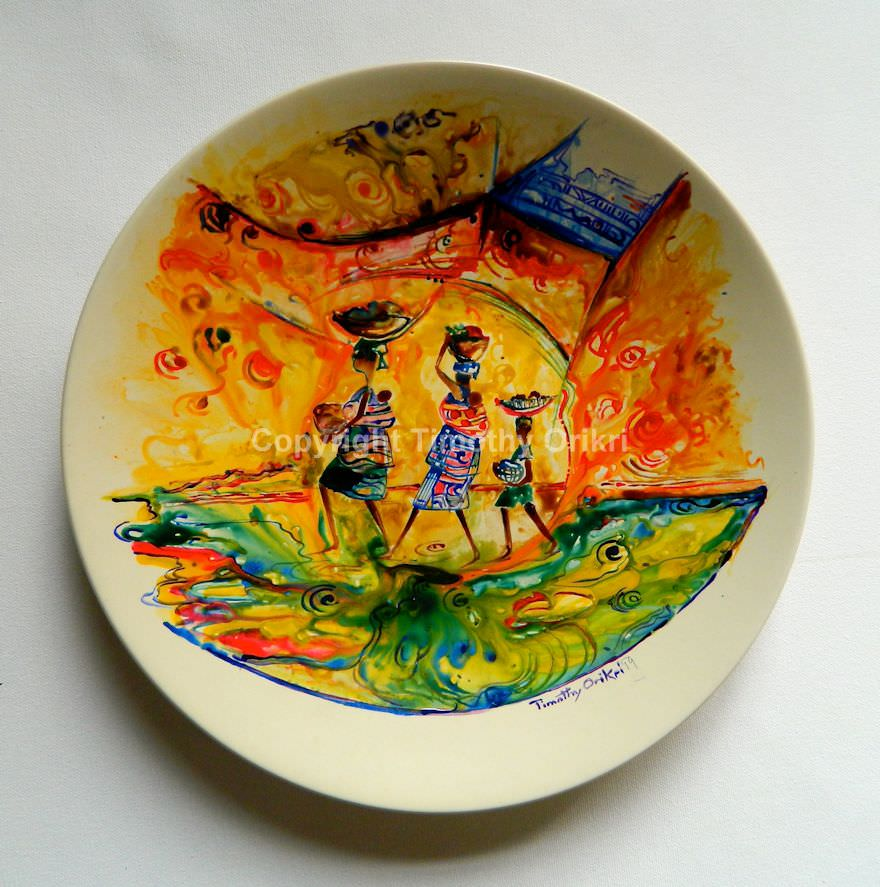 Rush Hour I - Hand Painted Ceramic Plate Design & Ceramics | Timothy Orikri